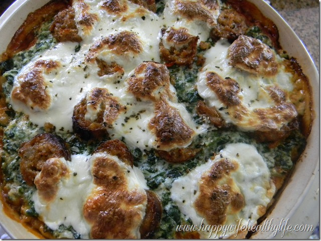 Turkey Sausage, Spinach and Ricotta Deep Dish Pizza on Wheat