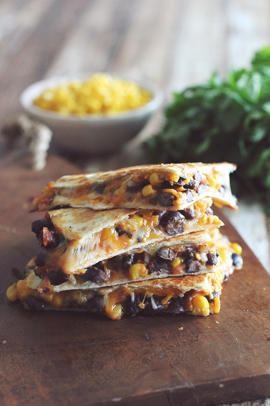 10 Minute Black Bean & Corn Quesadilla