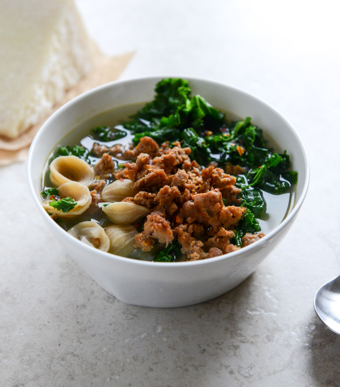 spicy sausage, kale and whole wheat orecchiette soup.