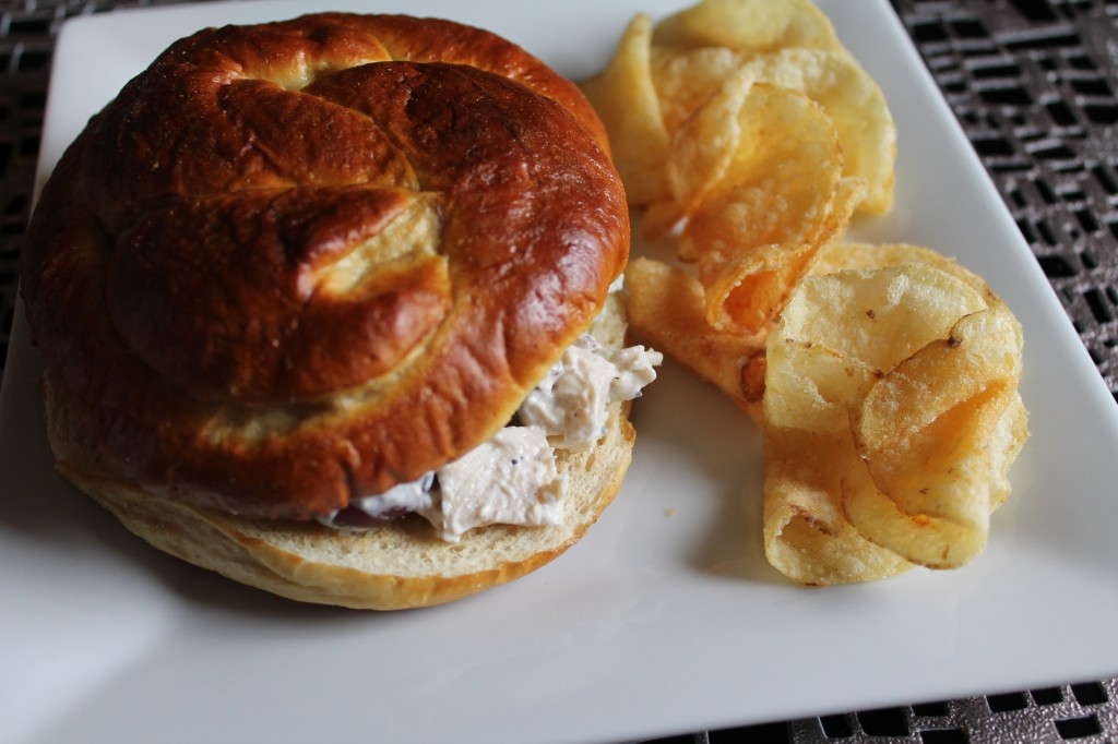 Chicken Salad on a Pretzel Roll with Salt & Vinegar Potato Chips