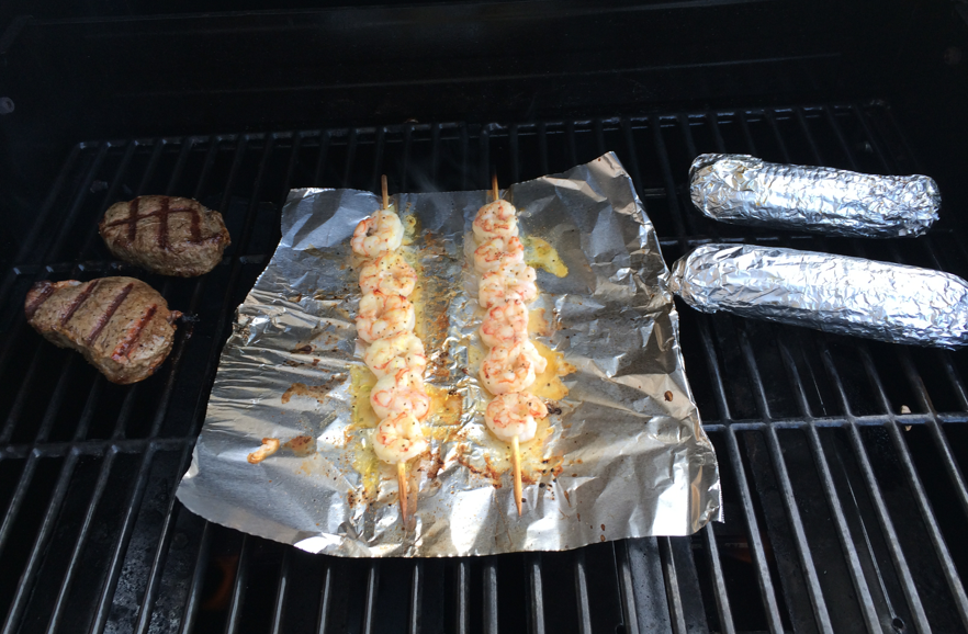 Grilling Shrimp, Filet and corn on the cob - Pregnancy Cravings