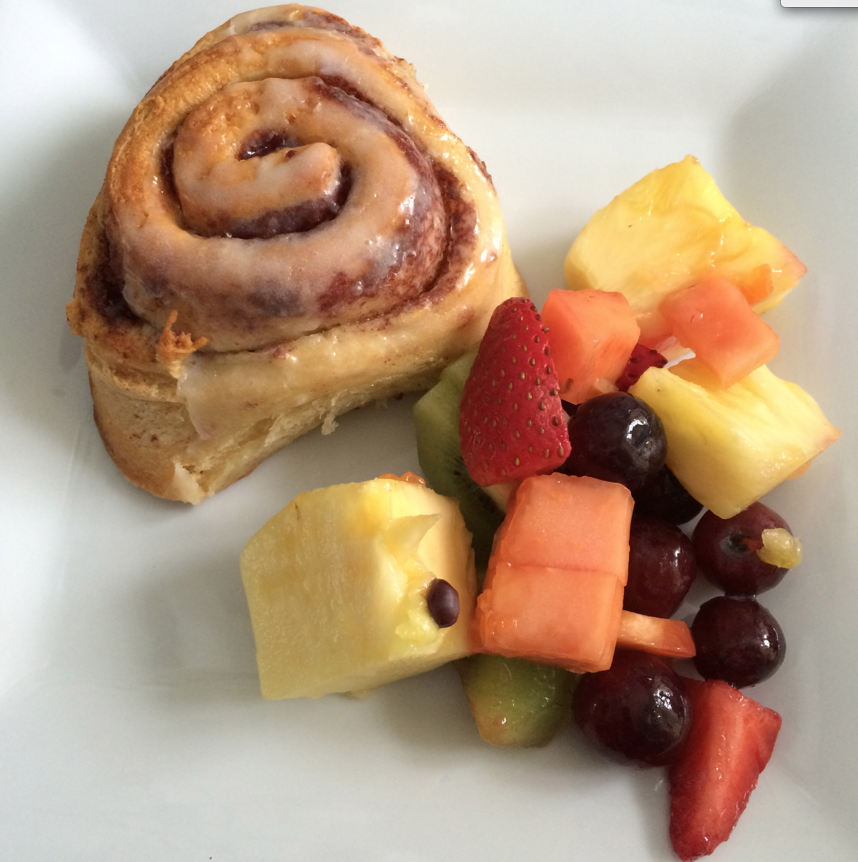 Cinnamon Roll + Fruit Salad