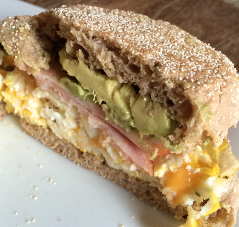 Egg, Sharp Cheddar Cheese, Avocado, Canadian Bacon, Whole Wheat English Muffin