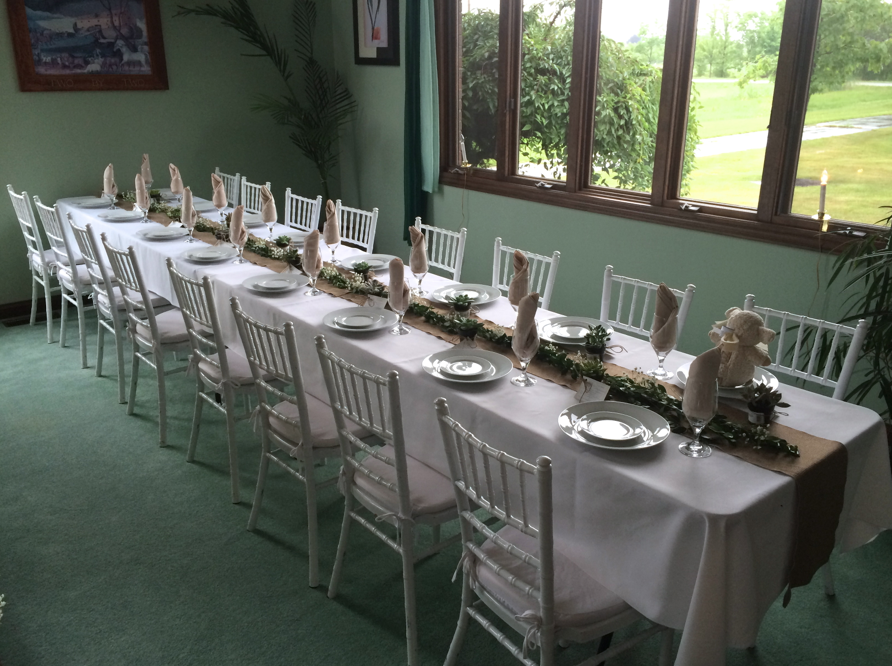 Neutral Baby Shower - White and Beige Linens, Chivari Chairs, Burlap Runner, Myrtle and Baby's Breath, Succulent Party Favors