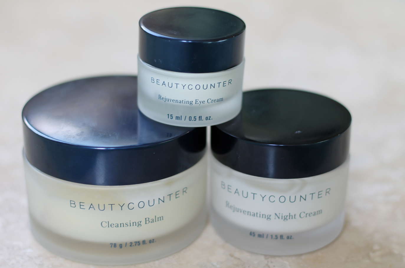 Beautycounter Cleansing Balm, Rejuvenating Night Cream, Rejuvenating Eye Cream