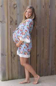 PinkBlush Blue Floral Lace Trim Delivery/Nursing Maternity Robe